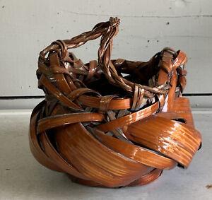 Vintage Beautiful Japanese Ikebana Bamboo Woven Basket