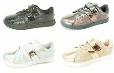 Kids Girls Trainers Shiny Trainers Pumps Gold Silver Black Bronze Size 8-2