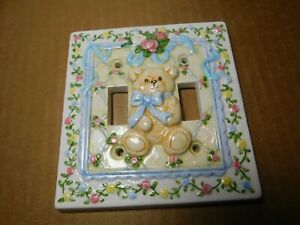 Decor~C.R.Gibson Double Light Switch Plate Baby/ Child Bear w/Blue Bow & Flowers