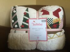 POTTERY BARN KIDS Holiday Merry Santa TWIN Quilt  - NEW