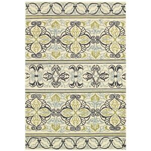 Couristan Covington Pegasus Ivory & Navy & Lime Indoor/Outdoor Rug