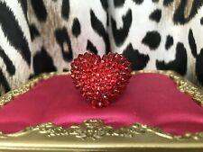 Tarina Tarantino Vintage Red Lucite Puffy Heart Swarovski Crystal Ring RARE