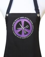"Hair Stylist Apron ""PEACE SIGN / SCISSORS"" waterproof hairdresser salon PURPLE"