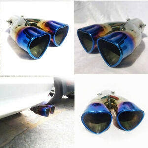 Universal 63MM Car Double-Barrel Exhaust Pipe Tip Tail Muffler Stainless Steel