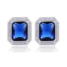 Noble Jewel Cushion Shaped Sapphire CZ Halo 925 Sterling Silver Stud Earrings
