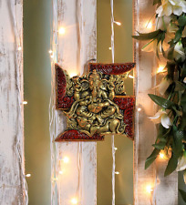 Ganesha Wall Hanging Statue Ganesh Figurine Home Decor Om Hindu God Metal Panel