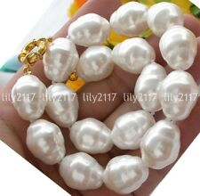 "Fashion 22mm South Sea White Baroque Shell Pearl Beads Necklace 18"" AAA"