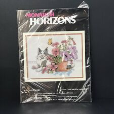 Monarch Horizons Counted Cross Stitch Nature Lovers Cat and Butterfly New Sealed
