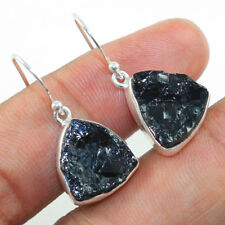 925 Solid Sterling Silver Natural Rough Black Tourmaline Earring Jewelry IN-1436