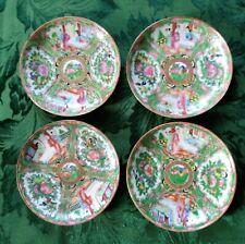 "New listing Four Antique Rose Medallion Porcelain Plates / Saucers 5 1/2"" 19th/20th C"