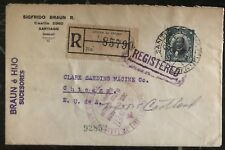 1929 Santiago Chile Registered cover to Chicago IL USA Judaica Item