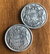 Lot Of 2 Canada Silver Half Dollars -  50 Cents - 1940 & 1957