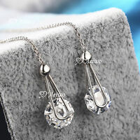 18K WHITE GOLD GF CLEAR CRYSTAL STUD EARRINGS DANGLE EXTRA LONG 10.5CM