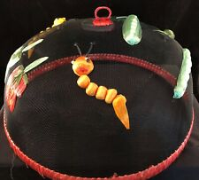 Domed Screen and Straw Food Cover with Straw Vegetables & Insects Retro Picnic