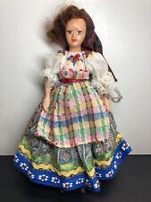 "8"" Vintage Peggy Nisbet Dolls British Beautiful  Brunette England Colorful Dress"