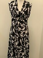 Jane Lamerton White and Black Patterned Dress Size 12