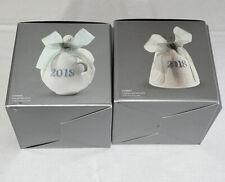 Lladro 2018 Christmas Bell & Ball Ornament Porcelain Lot Of 2