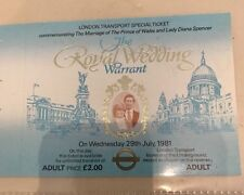 1981 Princess Dianna Royal Wedding Prince Charles London Transport Train Ticket