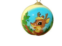 Rudolph Christmas Ornament Glass Reverse Painted Ball Large Hanging Vintage 1999