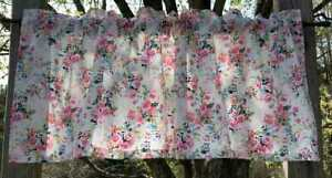 Floral Pink Rose Blue Yellow Green Flowers on White Bouquet Handcrafted Valance