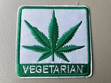 VEGETARIAN Cannabis Weed Marijuana Pot Hemp Leaf Biker Iron-On Morale Patch