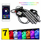 4x 9LED Remote Control Colorful RGB Car Interior Floor Atmosphere Light Strip BF