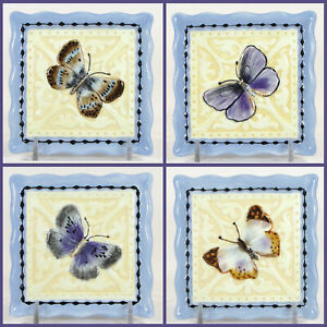 """MWW Market UNDER THE ARBOR 4"""" Mini Plate Set 4P Butterfly Spring Embossed Square"""
