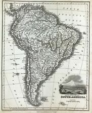 1831 Antique Map of South America original steel engraved, Fullerton & Co