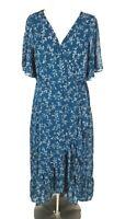 a new day Floral Blue Chiffon Ruffle Maxi Dress V-Neck Bell Sleeve Women Size XL