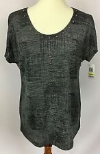 INC International Concepts Gunmetal Grey Studded Detail S/S Top Shirt Size M NWT