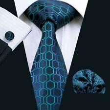 Blau Türkis Waben Edle Seide Krawatte Set Einstecktuch Knöpfe Breit K195