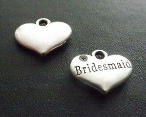 Bridesmaid Rhinestone Pendant Charm Antique Silver Wedding Jewellery Pack of 10