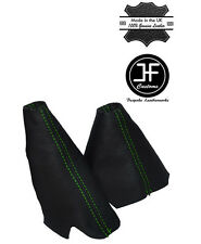 GREEN STITCH LEATHER HANDBRAKE HI-LOW TRANSFER GAITERS FOR LAND ROVER DISCOVERY