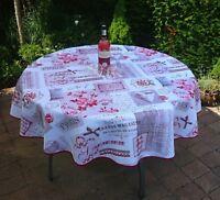 Tischdecke Provence 160 cm rund beige rot Rosenmotive Frankreich, pflegeleicht