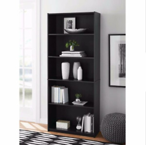 "71"" Tall Adjustable 5-Shelf Wood Bookcase Storage Shelving Book Wide Bookshelf"