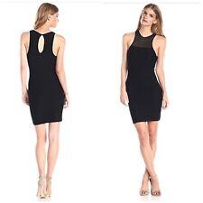 BCBGeneration Sz M/L Black Mesh-Yoke Bodycon Bandage Stretch Sleeveless Dress
