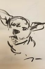"""JOSE TRUJILLO Original Charcoal Paper Sketch Drawing 11X17"""" Dog Puppy SIGNED NEW"""