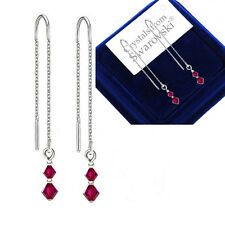 925 Sterling Silver Pull Long Through Earrings *Ruby* Crystals from Swarovski®