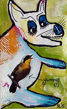 Original LABEDZKI original abstract  outsider art HE SWALLOWED THE CANARY 5x8in