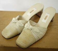 Vintage TALBOTS Cream Silk Fabric Dyeable Wedding Formal Mules Pumps 5.5M 35.5