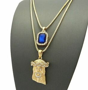 Gold HIPHOP Jesus Square Ruby Pendant Charm Chain Necklace Jewelry Set N0071M