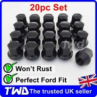 20x WHEEL NUTS - FORD (M12x1.5) ALLOY BLACK TAPERED SEAT 19MM HEX BOLT STUD -20B