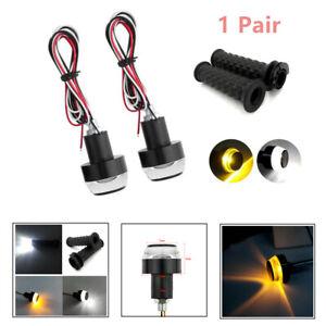 2PCS Motorcycle Handbars Grip 22mm Bar End LED Turn Signal Light Indicator Lamp