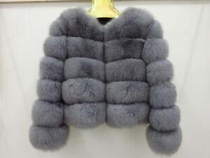 Women Outwear Real Vulpes Fox Fur Coat Winter Luxury Fur Jacket Horizontal Row