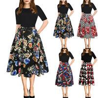 Women Ladies Short Sleeve Evening Party Dress Floral A-line Vintage Dresses 8-18