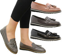 Ladies Womens Studded Tassel Loafers Casual Work Office Pumps School Shoes Size