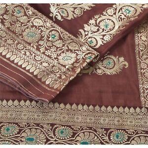 "Sanskriti Vintage Brown Pure Silk Woven Brocade Design Fabric Decor 44""X20"""