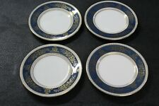 4 Wedgwood Bone China England Columbia Blue & Gold R4509 Bread Plates