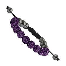 Spotlight Macrame 10mm Dark Purple Crystal & Hematite Beads Black Cord Bracelet