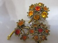 Vintage Rhinestone  Pin Brooch Orange Stones Flower shaped